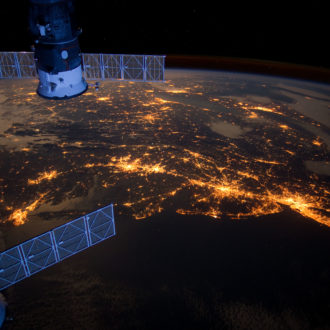 Sound Spotlight celebrates 50th anniversary of Earth Day with a photo taken the International Space Station from 6 feb 2012 show east coast United States at night. Long Island Sound can be seen in the right corner.